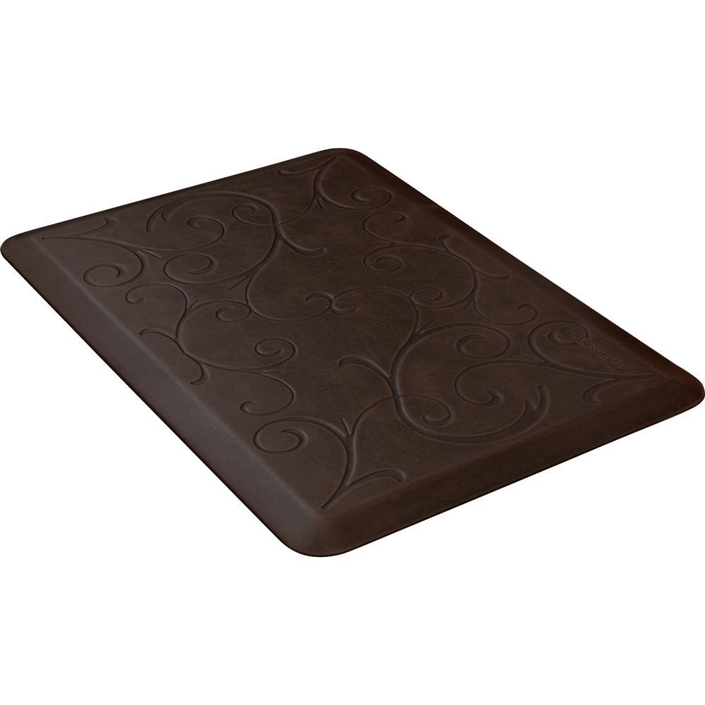 Wellness Mats PMB32WMRDB Bella Motif Mat w/ No-Trip Beveled Edge & Non-Slip Material, 3x2-ft, Antique Dark