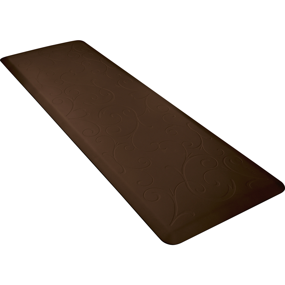 Wellness Mats PMB62WMRBRN Bella Motif Mat w/ No-Trip Beveled Edge & Non-Slip Material, 6x2-ft, Brown