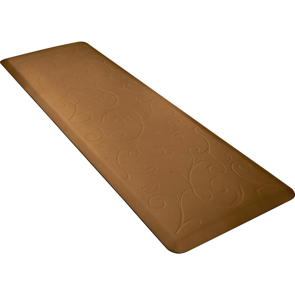 Wellness Mats PMB62WMRTAN Bella Motif Mat w/ No-Trip Beveled Edge & Non-Slip Material, 6x2-ft, Tan