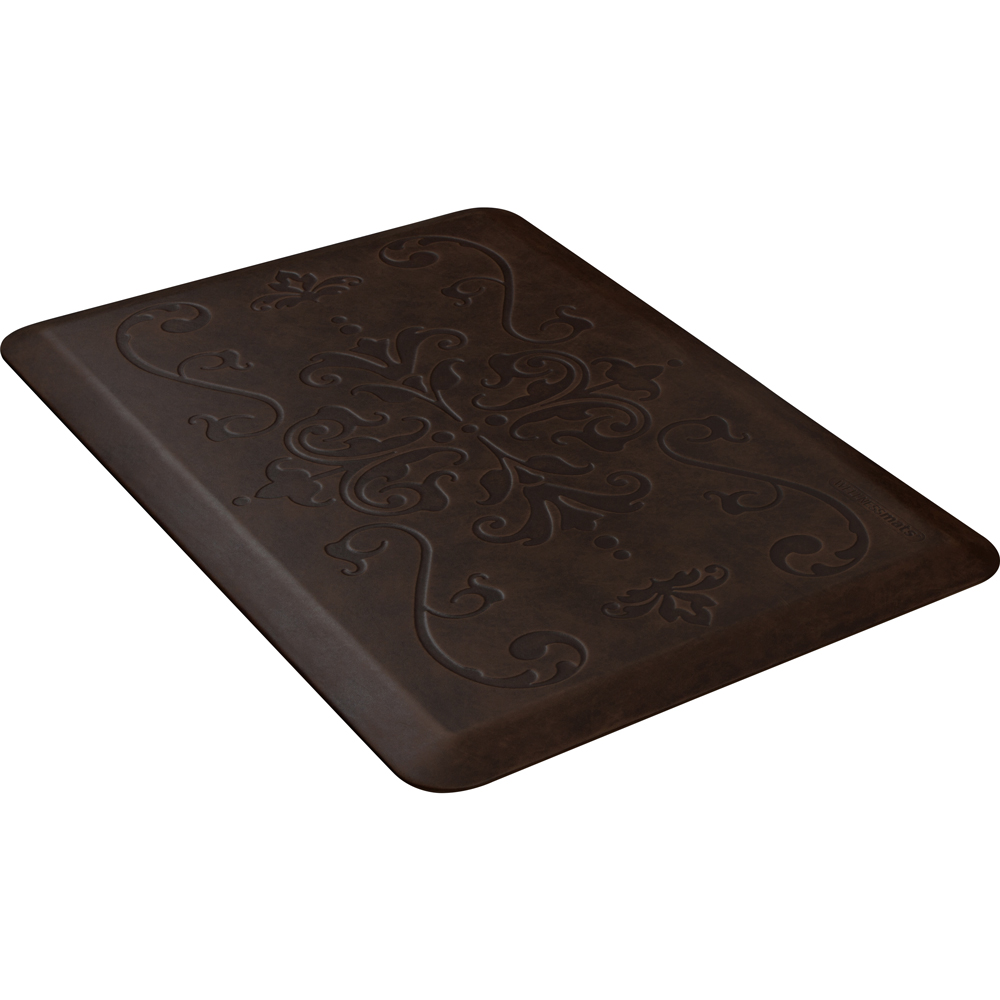 Wellness Mats PME32WMRDB Entwine Motif Mat w/ No-Trip Beveled Edge & Non-Slip Material, 3x2-ft, Antique Dark