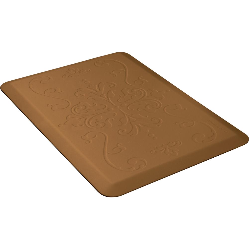 Wellness Mats PME32WMRTAN Entwine Motif Mat w/ No-Trip Beveled Edge & Non-Slip Material, 3x2-ft, Tan