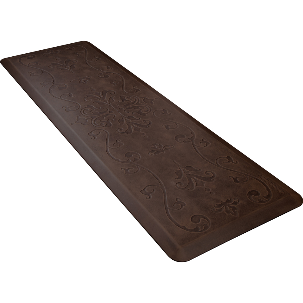 Wellness Mats PME62WMRDB Entwine Motif Mat w/ No-Trip Beveled Edge & Non-Slip Material, 6x2-ft, Antique Dark
