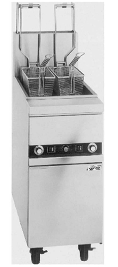 Anets MX14AASFF NG Fryer w/ 2-Auto Basket Lifts & Solid State Thermostat, 50-lb Fat Capacity, NG