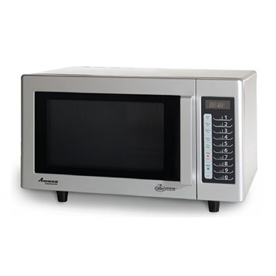 Amana RMS10T Commercial Microwave, Low Volume, Stainless & White, 1000-W, 120v