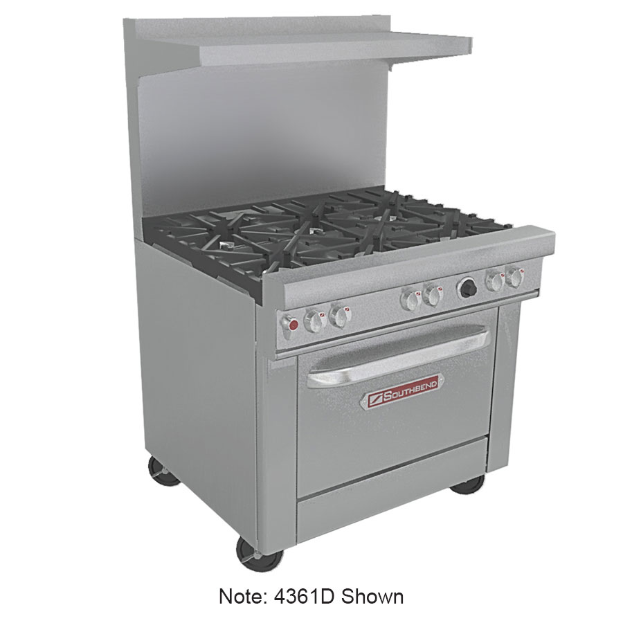 "Southbend 4361D2CLLP 36"" 2-Burner Gas Range with Charbroiler, LP"