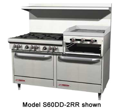 "Southbend 4603DD-2RR 60"" 6-Burner Gas Range with Griddle & Broiler, LP"