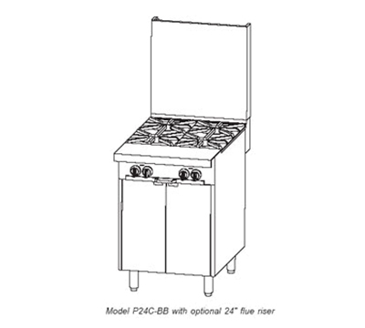 "Southbend P24N-BB-SU 24"" 4-Burner Gas Range, Step-Up, LP"
