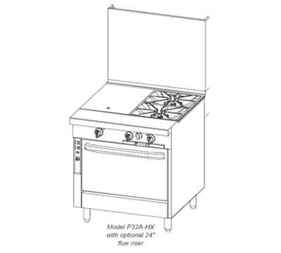 "Southbend P32N-XT 32"" 2-Burner Gas Range with Griddle, LP"