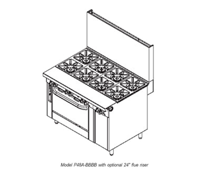 "Southbend P48A-BBBB-SU 48"" 8-Burner Gas Range, Step-up, NG"