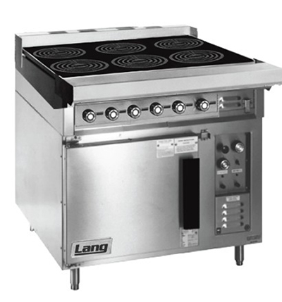 Lang RI36C-ATE 2081 36-in Induction Range w/ 6-Glass Hobs & Convection Oven Base, Stainless, 208/1 V