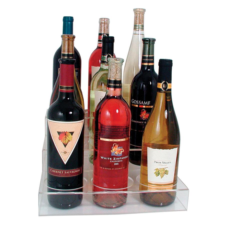Update International ABO-3X3 3-Tier Wine Bottle Display - (9)Bottle, Acrylic