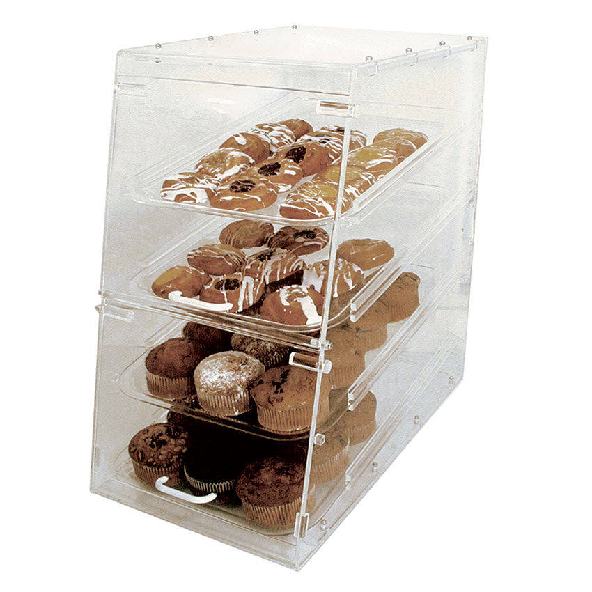 "Update International APB-1424FD Pastry Display - Front/Rear Doors, (4)Trays, 14x14x24"" Clear Acrylic"