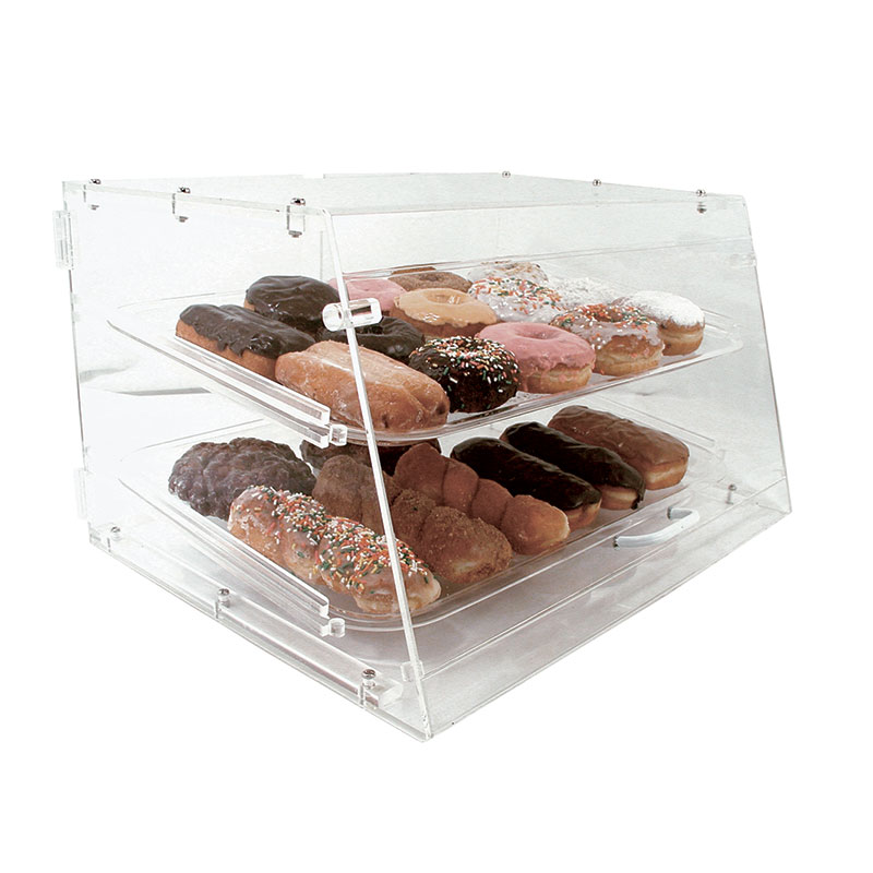 "Update International APB-2112FD Pastry Display - Front/Rear Doors, (2)Trays, 21x17-1/4x12"" Clear Acrylic"