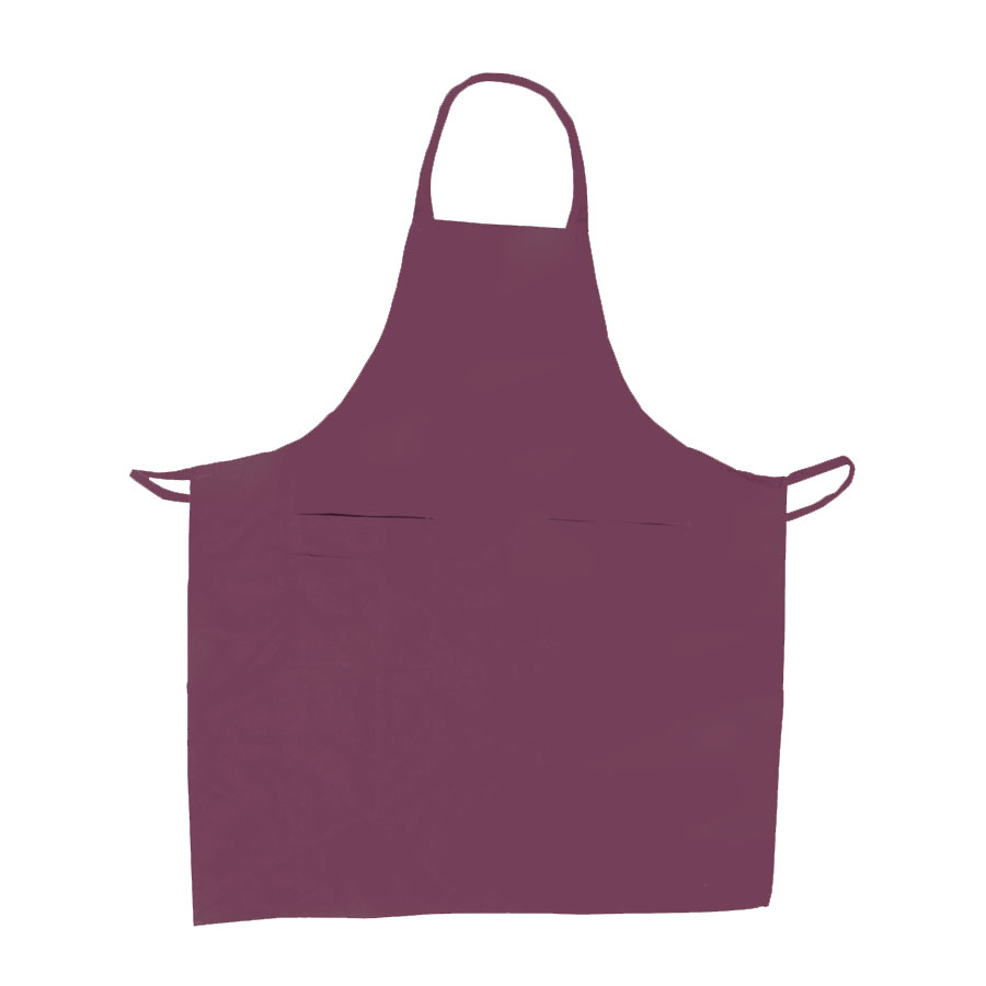 "Update International BAP-BU Bib Apron - (3)Pocket, 33x28-1/2"" Poly/Cotton, Burgundy"