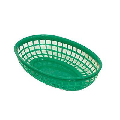 """Update International BB96G Oval Fast Food Basket - 9-1/2x7"""" Plastic, Green"""