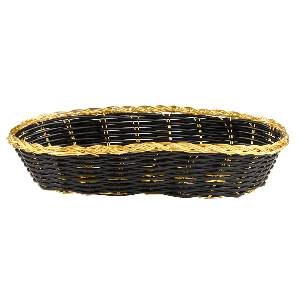 "Update International BBV-94 Oval Bread Basket - 8-1/2x4-1/2"" Black/Gold"