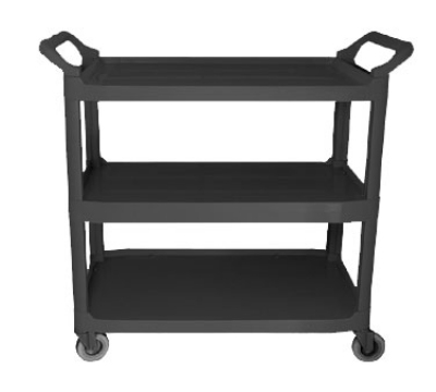 "Update International BC-2416B Bus Cart - 3-Shelf, 31x16x37"", Black"