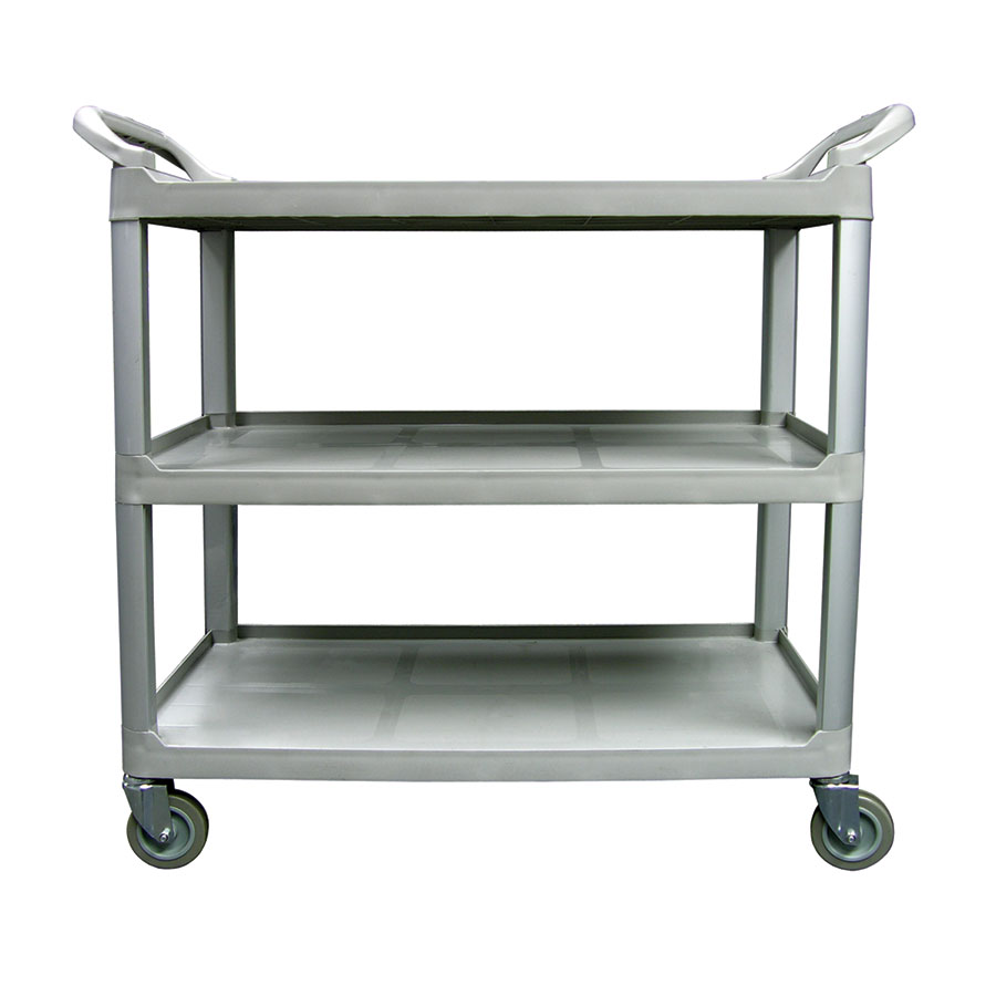"Update International BC-3520GZ 3-Tier Bus Cart - 300-lb Capacity, 40x20x38"" Gray"