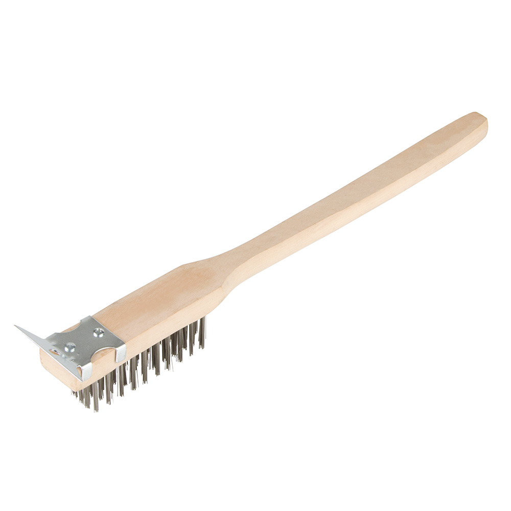 "Update International BRW-20HD 20"" Wire Brush with Scraper - Stainless/Wood"