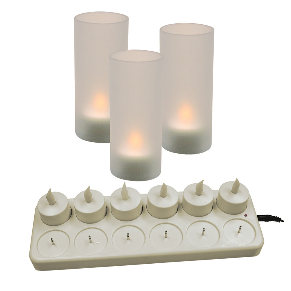 "Update International CDL-12S 4"" LED Candle Set - Recharging Station, Globes, (12)Candles"