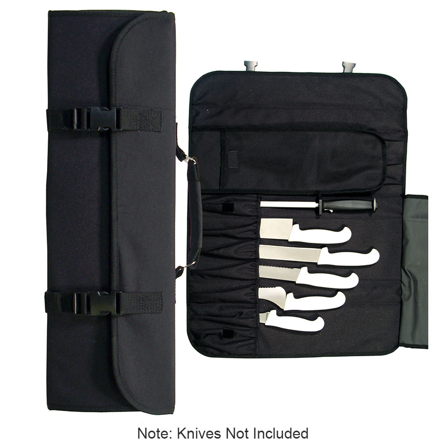 Update International CP-10 10 Pocket Cutlery Pouch With Handle Black Nylon Knives NOT Included Restaurant Supply