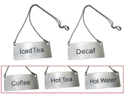 "Update International CS-HTE Chain Sign - 3-1/2x1-3/4"" Hot Tea"