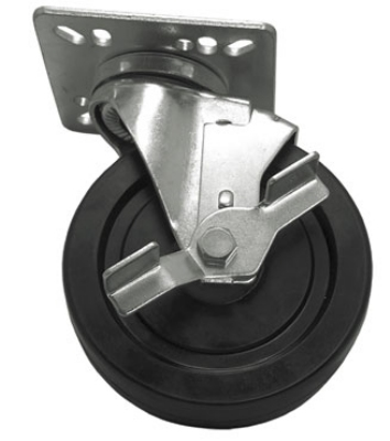 "Update International CUTP-5L 5"" Top Plate Casters with Lock - 400-lb Capacity"