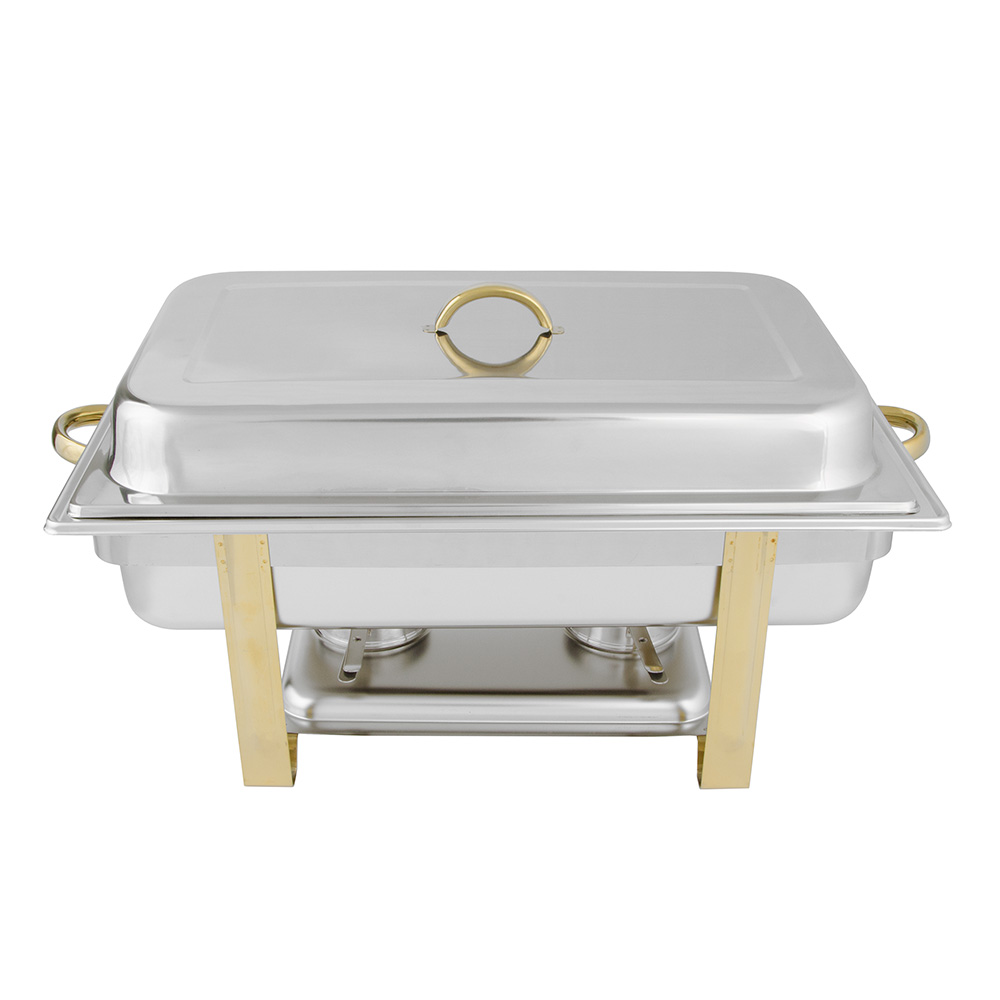 Update International DC-6N 8-qt Oblong Chafer - Gold Plate/Stainless