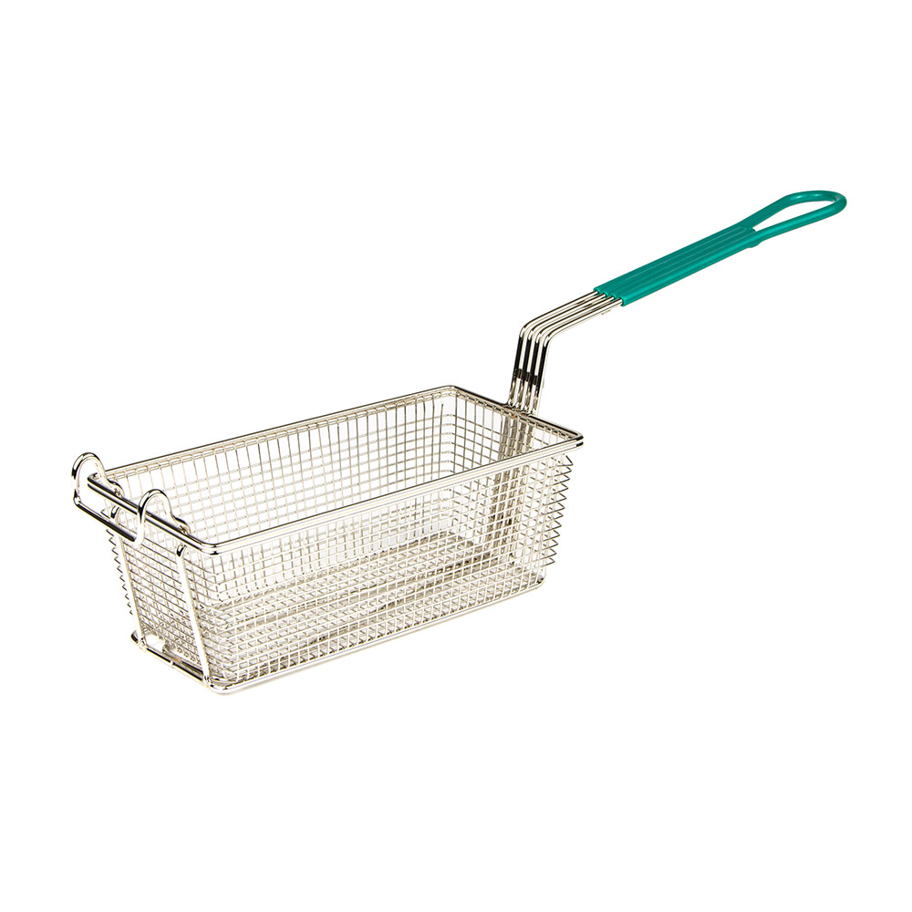 "Update International FB-115PH Rectangular Fry Basket - 11x4"" Plastic Handle"