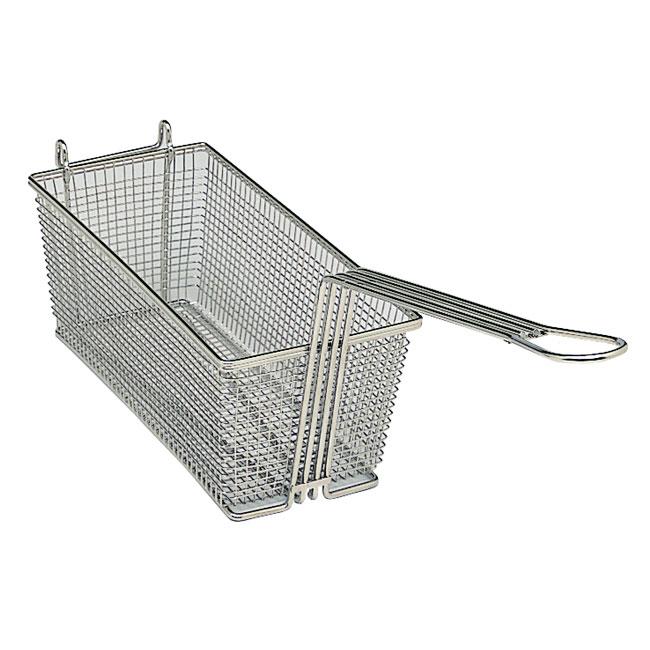Update International FB-126 12-7/8 in x 6-1/2 in x 5-3/8 in Medium Wire Mesh Fry Basket Nickel Plated Restaurant Supply