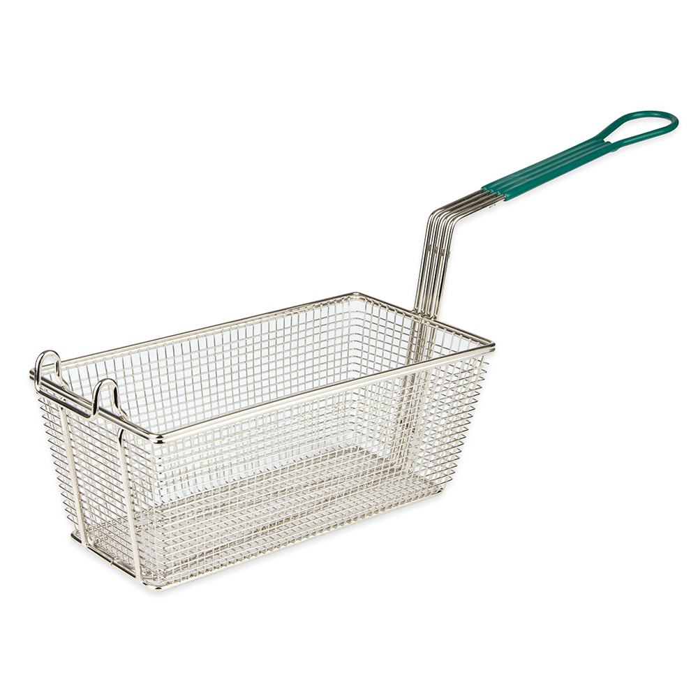 "Update International FB-135PH Rectangle Fry Basket - 13-1/4x5-3/4"" Medium Wire, Plastic Handle, Nickel-Plated"