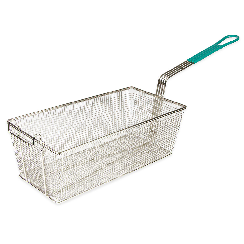 "Update International FB-178PH Rectangle Fry Basket - 17x8-1/4"" Plastic Handle, Nickel-Plated"