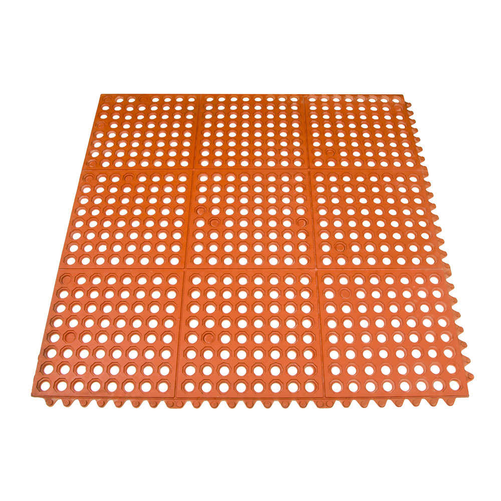 Update International FM-33R 3' Square Interlocking Rubber Floor Mat - Grease-Resistant, Red