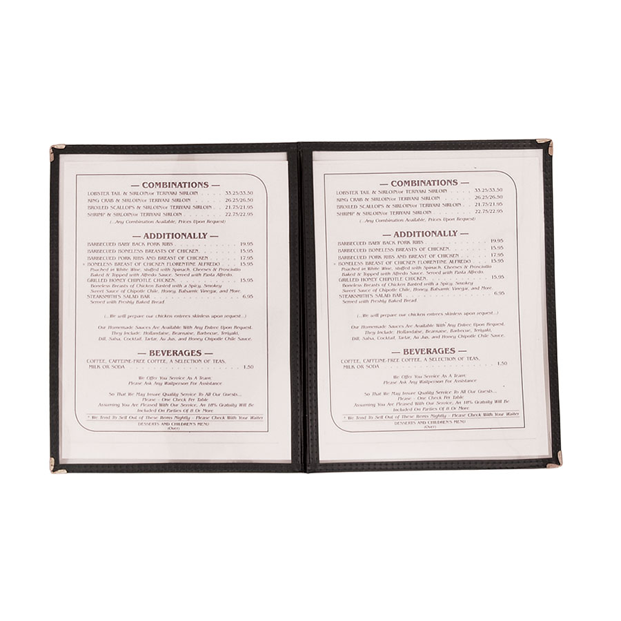 "Update International MCV-2BK Double Fold Menu Cover - 9-1/4x12"" Transparent/Black"