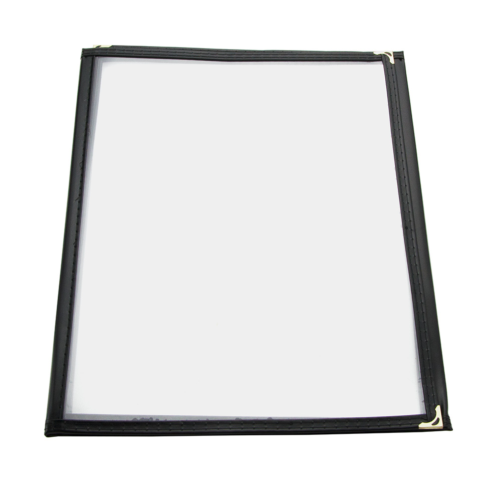 "Update International MCV-3BK Triple Fold Menu Cover - 9-1/4x12"" Transparent/Black"