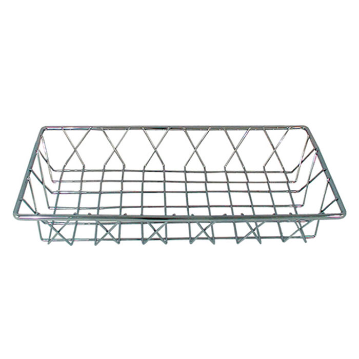 "Update International PB-146 Rectangular Pastry Basket - 14x6x2"" Chr"