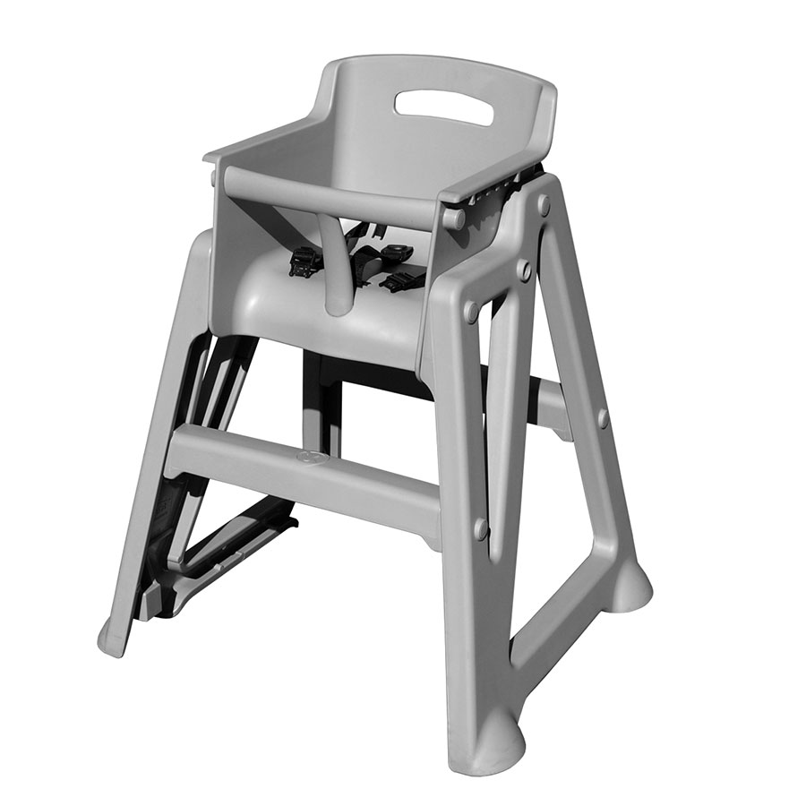 Update International PP-HC/GR Stackable High Chair - 3-Point Seat Belt, Polypropylene, Gray