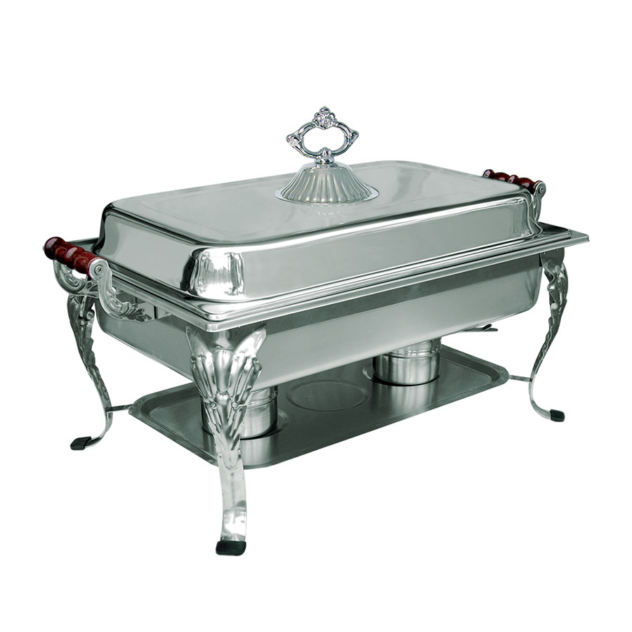 Update International RC-20 8-qt Royal Oblong Chafer - Lift-Off Cover, Wood Handles, Stainless