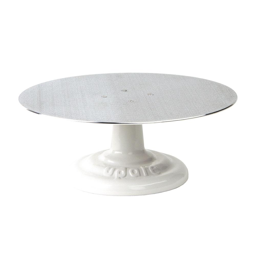 "Update International RCDS-12 12"" Cake Stand - Revolving Aluminum Turntable, Cast-Iron Base"