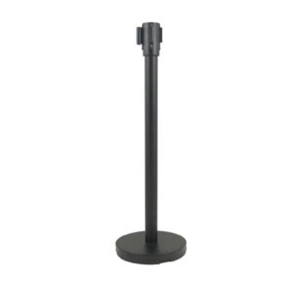 "Update International RS-36BK 36"" Crowd Guidance System - 6-1/2' Retractable Belt, 12"" Base, Black"