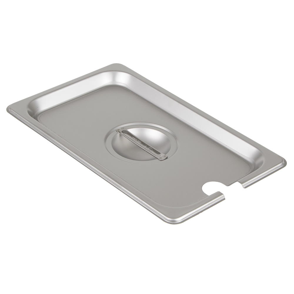 Update International STP-25CHC 1/4 Size Steam Table Pan Cover - Notched, Handle, Stainless