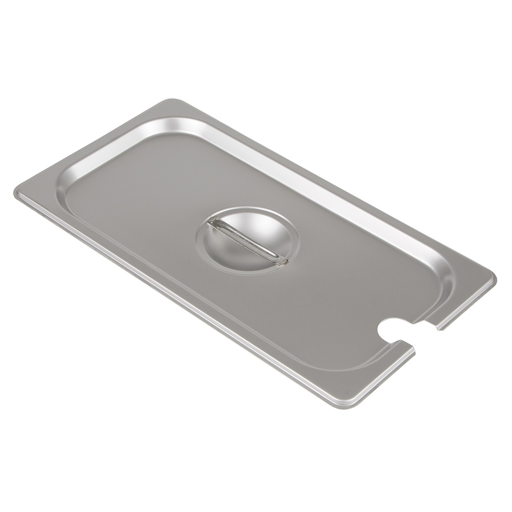 Update International STP-33CHC 1/3 Size Steam Table Pan Cover - Notched, Handle, Stainless