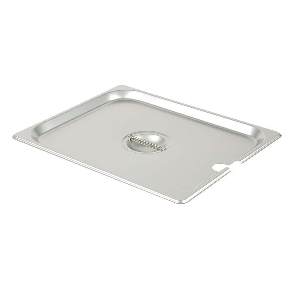 Update International STP-50CHC Half-Size Steam Table Pan Cover - Notched, Handle, Stainless