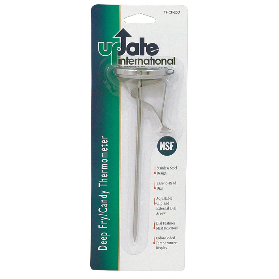 """Update International THCF-20D 2"""" Dial Deep Fry/Candy Thermometer with Clip"""