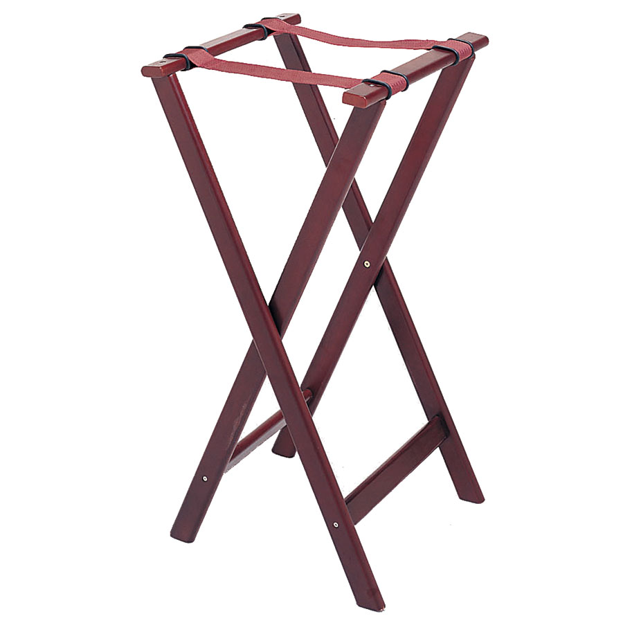 "Update International TSW-32 32"" Folding Tray Stand - Cherry Wood Finish"