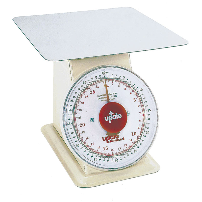 "Update International UP-960 9"" Fixed Dial Scale - 60-lb Capacity, 4-oz Graduations"