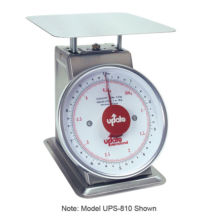 "Update International UPS-840 8"" Fixed Dial Scale - 40-lb Capacity, 2-oz Graduations, Stainless"