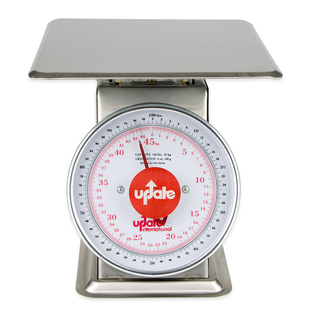 "Update International UPS-9100 9"" Fixed Dial Scale - 100-lb Capacity, 4-oz Graduations, Stainless"
