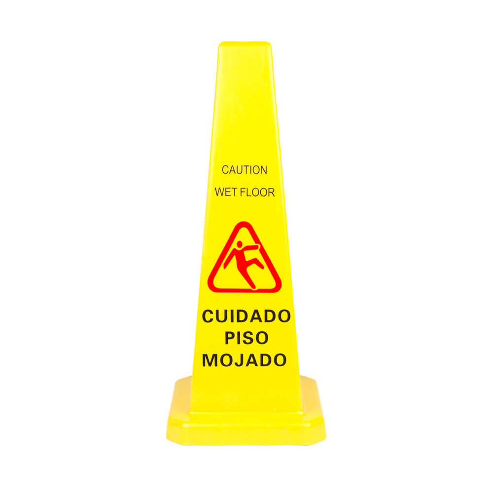 "Update International WFC-27 27"" Cone-Shaped Wet Floor Sign - Bili"