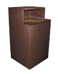 Update International WRU-32 Waste Receptacle for 32-gal Can - Tray Top, Dark Walnut Finish